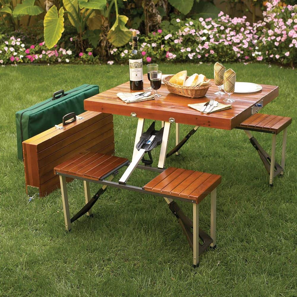 Tailgate Folding Wooden Picnic Table Noveltystreet