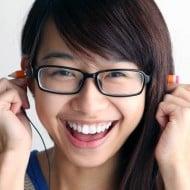 Magic Pencil Earphones Goofy Asian Girl with Glasses