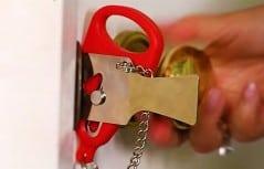 Portable door lock.