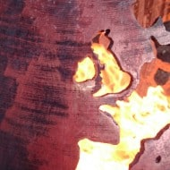 Craftsmen in Metal UK Fire Sphere Sculptural Fire Pit Oxidized Metal Detail