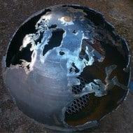 Craftsmen in Metal UK Fire Sphere Sculptural Fire Pit Silver Earth