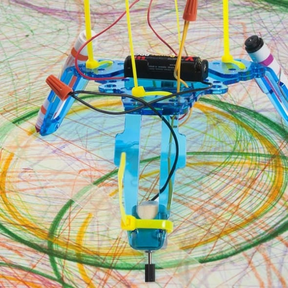 Build your very own spinning drawing robot.
