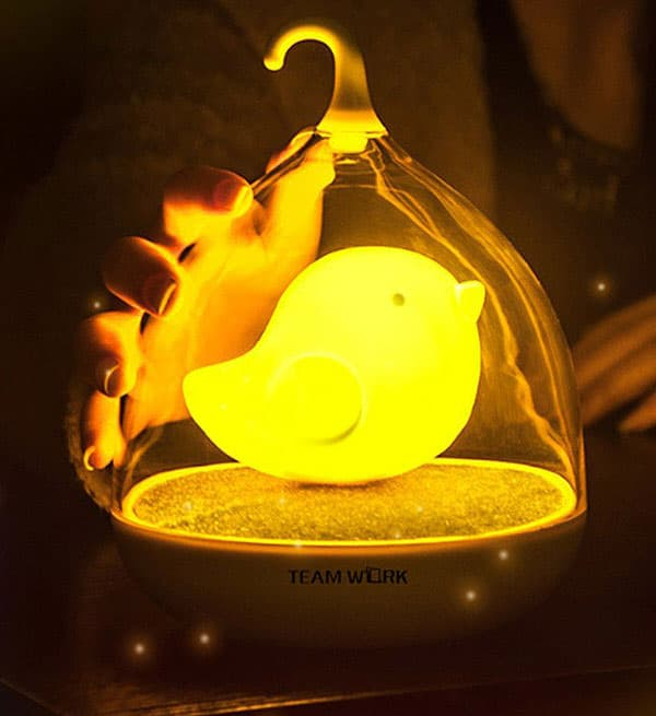Night time comfort that only a cute glowing bird can give.