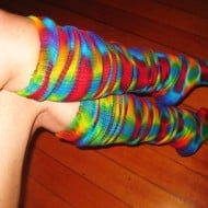 Wild Flower Dyes Tie Dye Psychedelic Thigh High Dance Socks Retro and Colorful