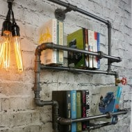 9th Ave Iron Works Lighted Brighton Two Tiered Iron Bookshelf Industrial Design