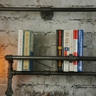 9th Ave Iron Works Lighted Brighton Two Tiered Iron Bookshelf Industrial Fixture