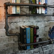 9th Ave Iron Works Lighted Brighton Two Tiered Iron Bookshelf Pipe Design