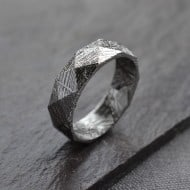 Faceted Meteorite Ring Beautiful Wedding Ring