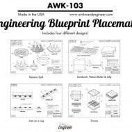 Awkward Engineer Engineering Blueprint Placemat Set Fun Food Specs