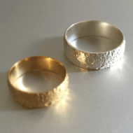 Cunicode 3D Printed Moon Ring Gold and Silver