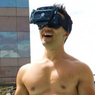 Freefly VR Virtual Reality Smartphone 3D Headset Naked on Rooftop