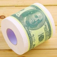 One Hundred Dollar Bill Toilet Paper Roll of 100 Dollar Bill