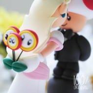 The Rosemarry Toppers Custom Mario Wedding Cake Topper Fire Flower Detail