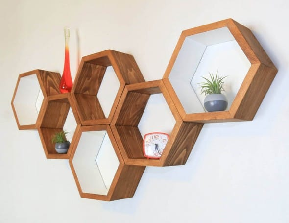 Organize your stuff with honey-sweet looking shelves.