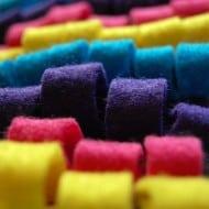 Some Rabbits Felt Piñata Skin Rug Colorful Loops