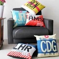 Airportag JFK Throw Pillow Hipster Gift Idea