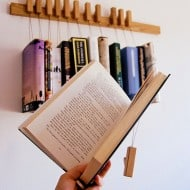 Old and Cold Hanging Book Rack Cool Wooden Display