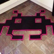 Space Invaders Mats Space Invader Shaped Rug Geek Things to Buy