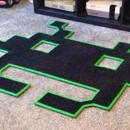 Space Invaders Mats Space Invader Shaped Rug Gift to Buy for Video Game Addicts