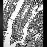 Carbon Light 3D Laser Cut New York Street Map Unique Wall Accessory