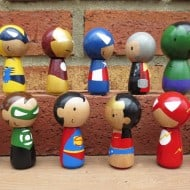 Wooly Llama Kokeshi Style Superheroes Cool Miniature Hero