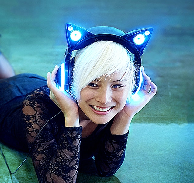 Light up your headphone and party like the cool cat that you are.