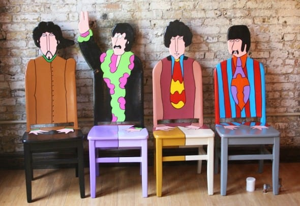 We all sit in the yellow submarine chair.