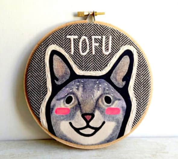 One of a kind embroidered pet portraits.