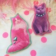 I'm Your Present Neon Cats Badge Set Cool Animal Fashion Stuff