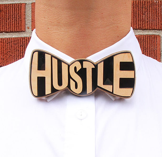 Hustle and flow with a wooden bowtie.