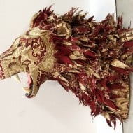 Little Stag Studio Custom Upholstered Faux Taxidermy Lion Cool Animal Wall Design