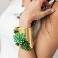 Passionflower Succulent Cuff Bracelet Cute Ancient Design Bangel