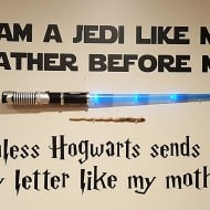 Word Factory Design Star Wars and Harry Potter Themed Parody Decal Jedi Home Decoration