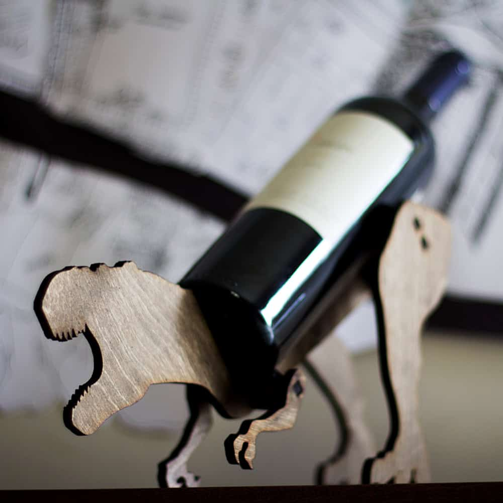 Holds your wine bottle with a roar!