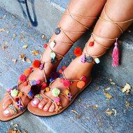 Mabu Gladiator Pom Pom Sandals Shoes for Women
