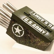 Delta Echo Products 10 pc Ammo Box Knife Block Cutlery Set Cool Design Rack