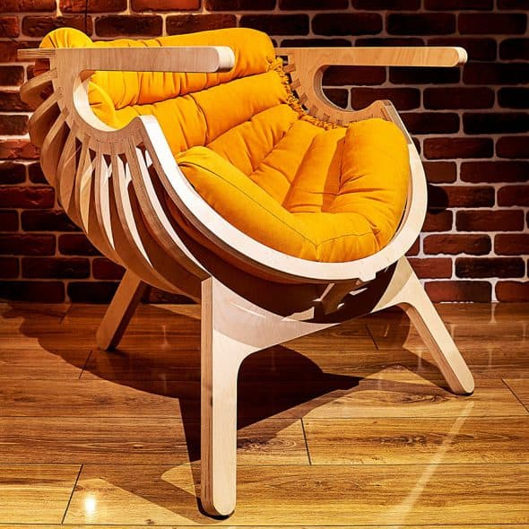 Comfort in the form of a trendy wooden chair.