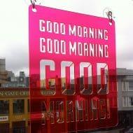 Moonish Goods Good Morning Typographic Sun Catcher Transparent Acrylic