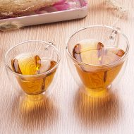 Heart Shaped Double Wall Glass Cups Wedding Motif