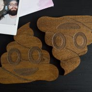 Of The Town Poop Emoji Coaster Solid Poplar Wood