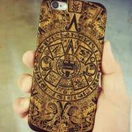Shaken Doodle Designs Wooden Mayan Aztec Calendar iPhone Case Mobile Extra Protection