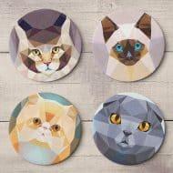 Teide Shop Polygonal Cats Coaster Set Handmade