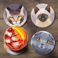Teide Shop Polygonal Cats Coaster Set Personalized Coasters