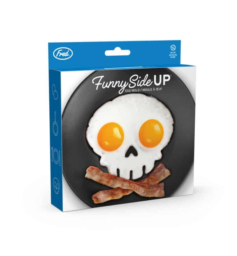 Fred Funny Side Up Skull Shaped Egg Mold Blue Box Packaging