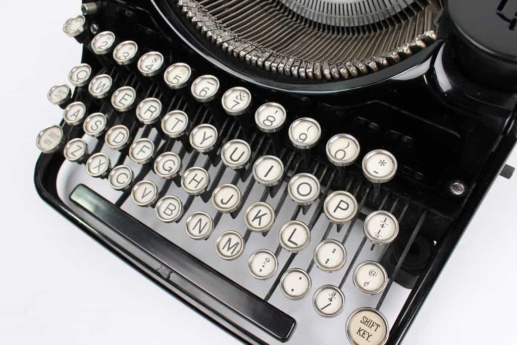 USB Typewriter Black Underwood White Keys