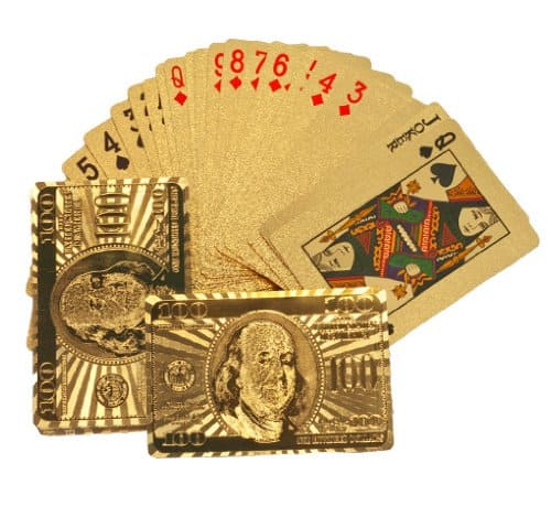 24k Gold Playing Cards Spread with Dollar Back