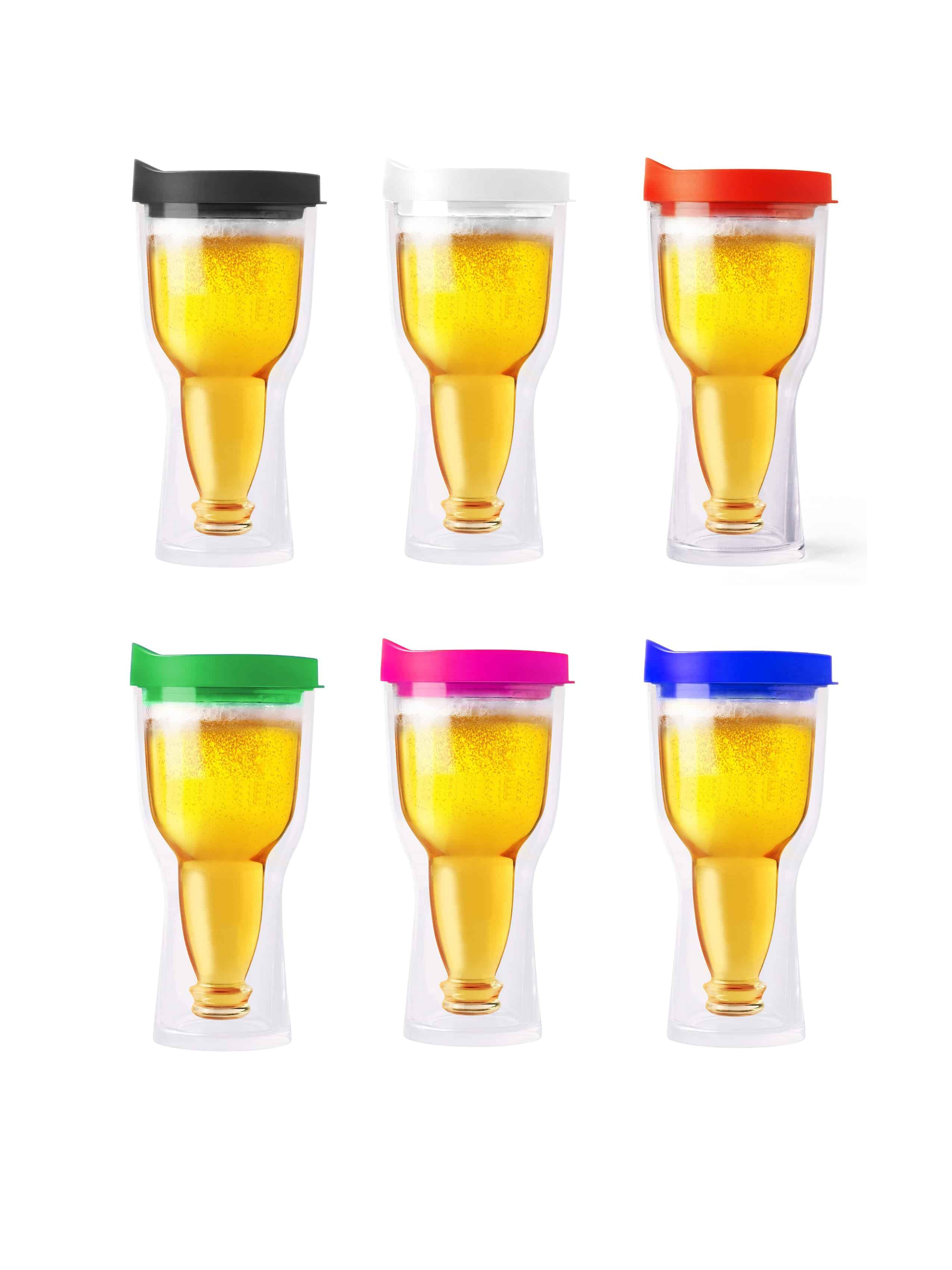 Acrylic Beer Tumbler Assorted Lid Colors