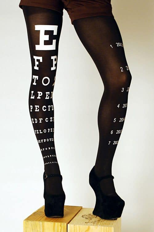 Eye Exam Chart Tights  Black Gift For Her
