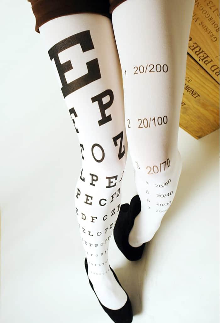 Eye Exam Chart Tights  White Folded Legs