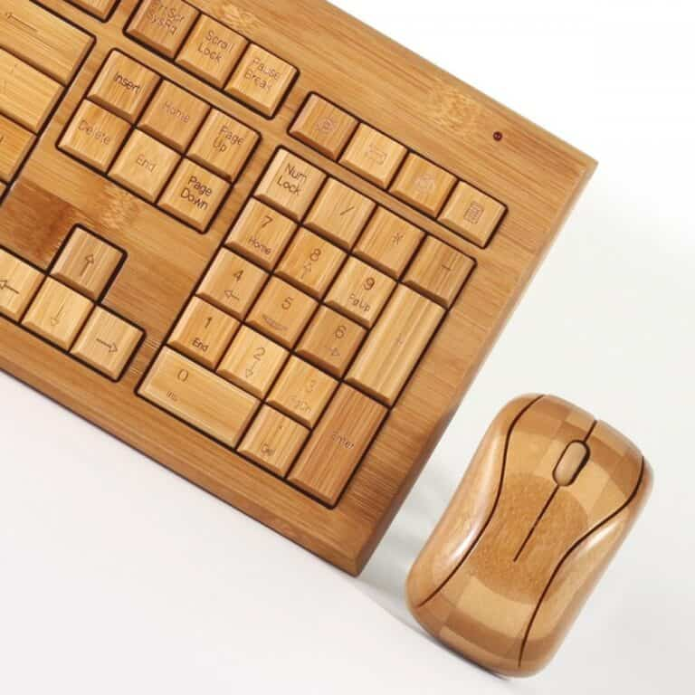 Impecca Hand-Carved Bamboo Wireless Keyboard and Mouse Green Biodegradable Hardware